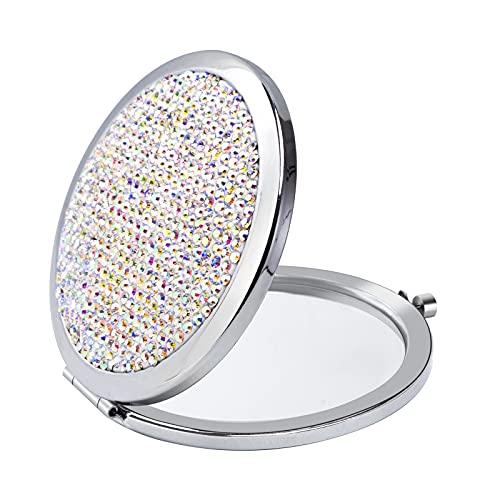 Taschenspiegel mit Bling Strasssteinen Tragbarer Kompaktspiegel Doppelseitiger Runder Spiegel für Frauen Mädchen Buntes Weiß