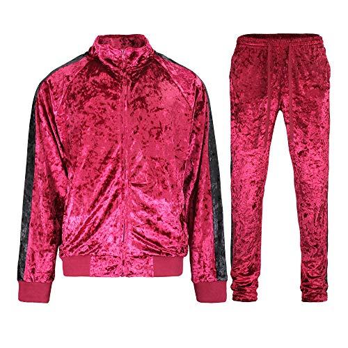 G-Style USA Men's Velvet Velour Tracksuit Set - Zipper Jacket and Sweatpants ST851 - Burgundy - X-Large