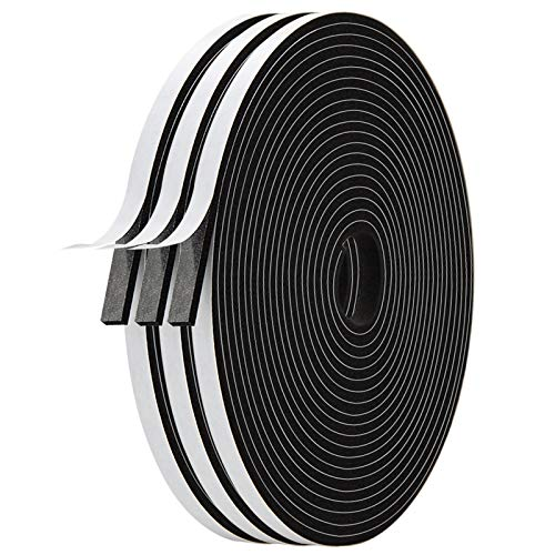 Adhesive Foam Tape-3 Rolls, Total 59 Feet Long 1/4 Inch Wide X 1/8 Inch Thick, Weather Stripping for Doors and Window High Density Foam Seal Tape Sliding Door Weather Strip,(3 X 19.7 Ft Each)