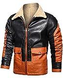 Maavoki Chaqueta de piel de oveja sintética para hombre, chaqueta de forro polar, traje de moto, cálido, traje de avión, cremallera A-negro. S