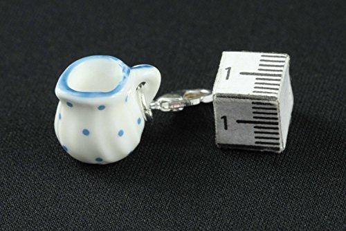 Miniblings Milchkännchen Charm Charms Kaffee Punkte blau - Handmade Modeschmuck I Kettenanhänger versilbert - Bettelanhänger Bettelarmband - Anhänger für Armband