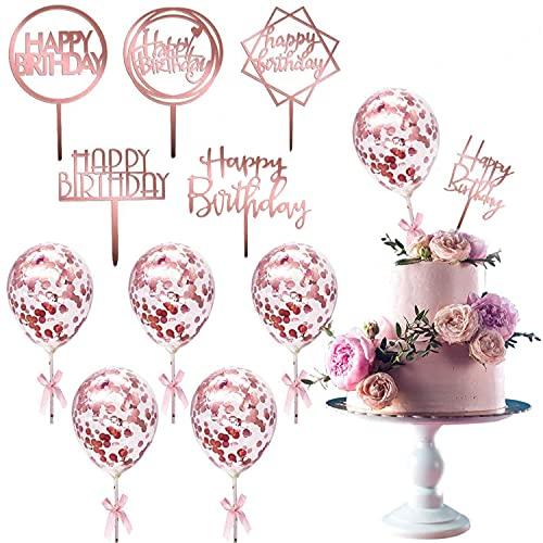Decoración para Tartas de Cumpleaños Cupcake Toppers,Happy Birthday Cake Topper,6 unidades con 6 globos de confeti, Kit de Decoracion Tartas Cumpleaños para Niños Fiesta de Boda(oro rosa)