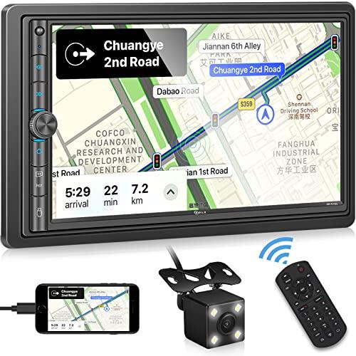 P.L.Z MP-E100 Doppel Din Autoradio mit Bluetooth 5.1, Mirrorlink für iOS/Android, 7 Zoll Touchscreen MP5 Multimedia unterstützt Rück- / Frontkamera, USB/TF, Lenkradsteuerung, A/V Eingang, RDS/AM/FM