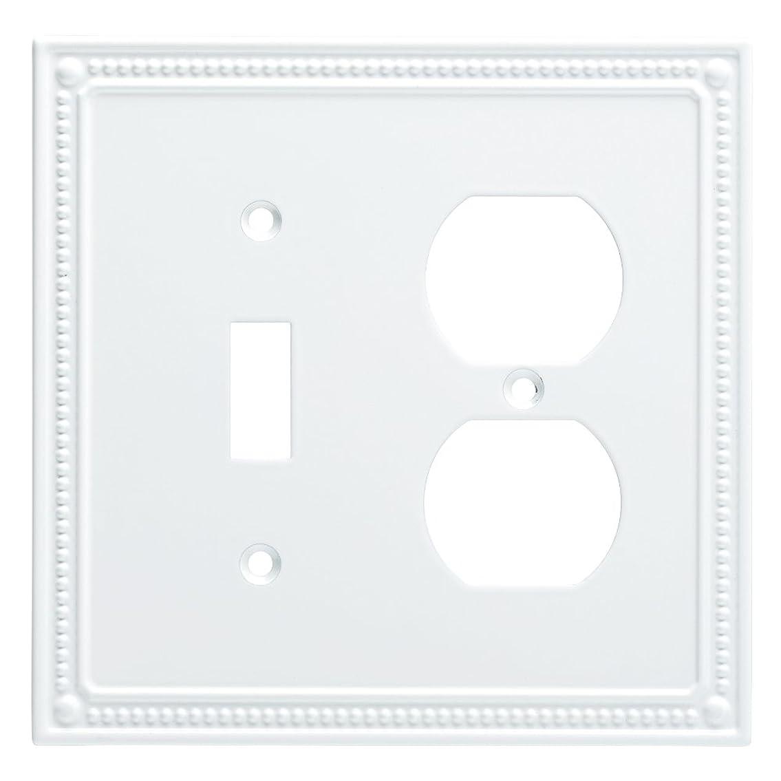 ボストレッド過言Franklin真鍮クラシックビーズ付きスイッチ/二重壁スイッチプレート/プレート/カバー ホワイト W35062-PW-C 1