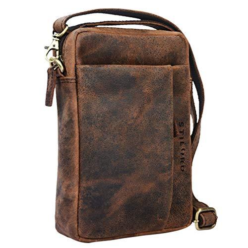 STILORD 'Fiete' 2-in-1 Umhängetasche/Handgelenktasche Leder Herren multifunktionale Handtasche mit abnehmbarem Schulterriemen kleine Ledertasche im Vintage Design, Farbe:Sepia - braun