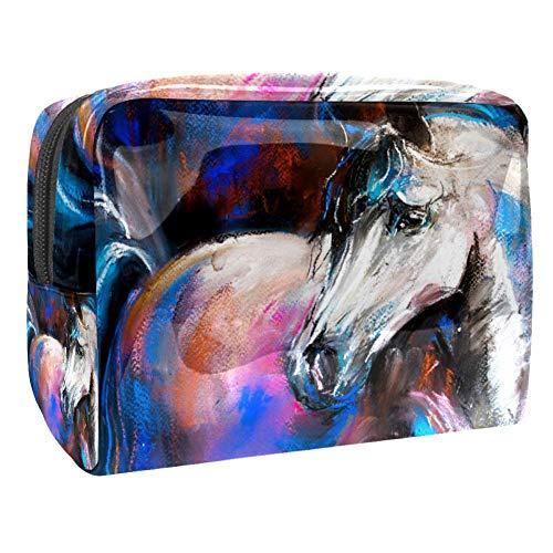 TIZORAX Pastel Schilderij Paard Cosmetische Tassen PVC Make-up Tas Reizen Toiletten Handige Pouch Organizer voor Vrouwen