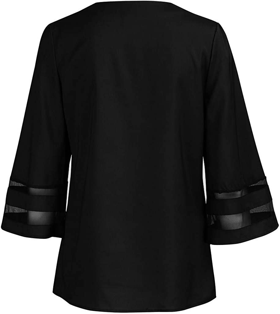 Longra Camicetta Elegante Donna T-Shirt A Righe Maglia Manica Lunga Estate Taglie Forti Camicie Lunghe Maniche Corta Maglietta Casual Shirt in Pizzo Chiffon Felpe Tumblr Pullover Felpa