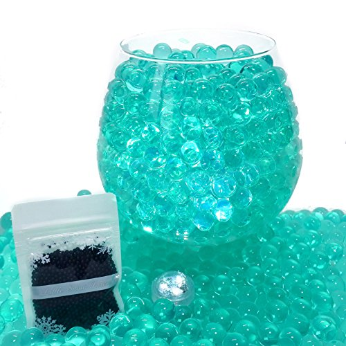 Little Snow Direct 20g Aqua Water Crystal Beads Crystal Soil Gems Bio Gel Balls Wedding Vase Decoration - Waterproof LED Light Included - Teal