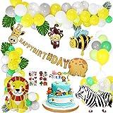 Gafild Decoracion Cumpleaños, Globo de Aluminio Safari Bosque Animal Cumpleaños Globos con Hojas para Cumpleaños Baby Shower Decoración