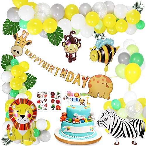 Gafild Geburtstag Dekoration Set, Kinder Geburtstag Deko Geburtstagsdeko Luftballons Tiere Happy Birthday Girlande Palmblätter Dschungel Geburtstag Dekorationen für Kindergarten
