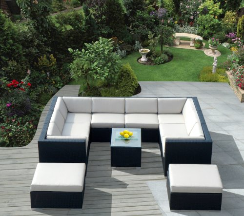 Big Sale ohana collection PN1102 Genuine Ohana Outdoor Patio Wicker Furniture 11-Piece All Weather Gorgeous Couch Set with Free Patio Cover