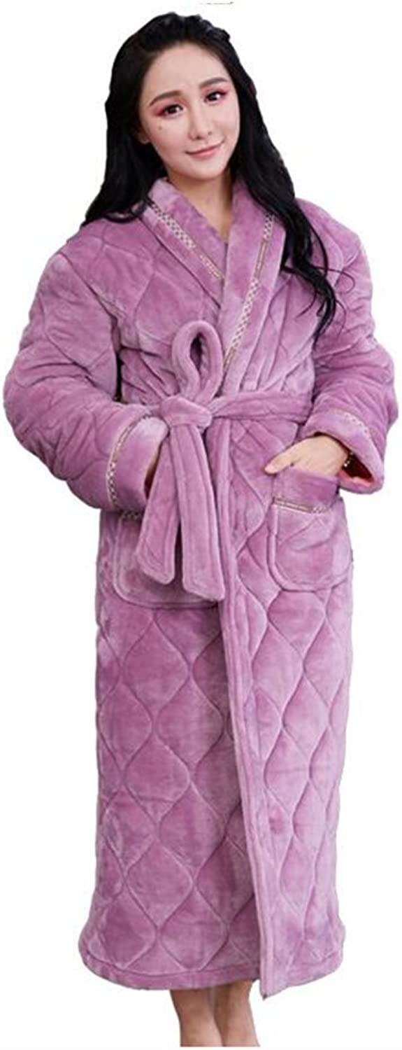 GJM Shop Female Winter Thickening Long Section Nightgown Polyester Quilted Pajamas Bathrobe (Size   165 (L))