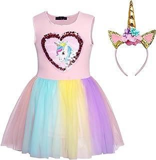 Children's Dress With Headband - Rainbow Unicorn Princess Dress Lace Tutu Skirt