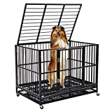 WALCUT Heavy Duty Dog Cage, Strong Metal Pet Large Crate Folding Kennel with Double Door Playpen 4 Wheels Tray Rolling