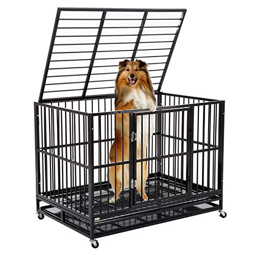 WALCUT 48'' Heavy Duty Dog Kennel, Strong Metal Pet Playen Large Dog...