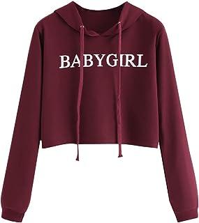 Niña Adolescente Sudaderas con Capucha Cortas - Babygirl Tops Pull-Over Blusas Tops Camiseta para Mujer Tumblr