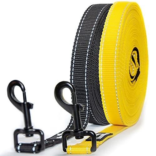 Freudentier® Schleppleine 20m für große Hunde - Inkl. Aufbewahrungsbeutel - Mehr Sicherheit durch Reflektoren - Leicht, Robust & Wasserabweisend