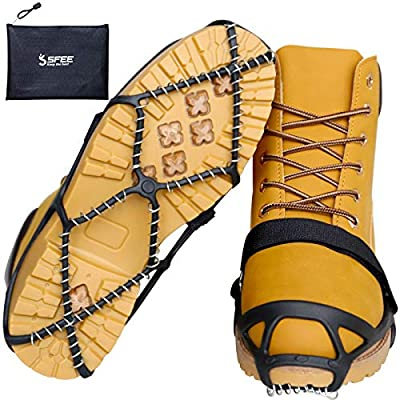 Sfee Ice Cleats for Walking on Ice Snow Grips Crampons Traction for Shoes/Boots, Anti-Slip Portable Flexible Footwear for Walking Climbing Hiking Fishing Outdoor Running with 2 Velcro Straps (M)