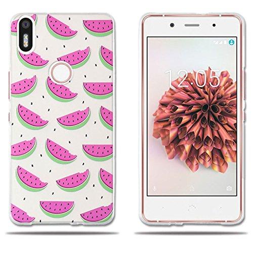 Custodia BQ Aquaris X5 Plus,FUBAODA[Watermelon] Silicone trasparente TPU Fashion Creative contemporanea Acquarello Fiori Floral Pattern Design Matte TPU corpo pieno protettivo per BQ Aquaris X5 Plus
