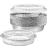 🍰 SAFE TO TOSS IN THE FREEZER OR OVEN: If you like using disposable pans when baking, roasting, storing leftovers, or when meal prepping, you'll love these aluminum pans with lids. They hold up great in the freezer and oven. No warping or melting lik...