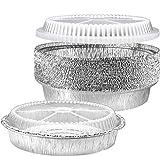 NYHI Round Aluminum Foil Pans 9-Inch | Disposable Tin Foil Pans with Clear Plastic Lids | Heavy-Duty...