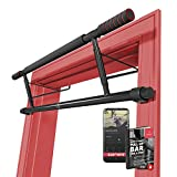Pull Up Bar Door Frame NO Screws + Exercise E-Book | Professional Chin Up with Padded Handles | Extra Wide Dip Workout Bars for Hanging in Doorway at Home without Drilling, Indoor Mounted Gym Fitness