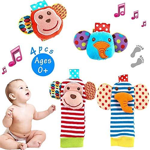 Tinabless Juego de calcetines con sonajero para bebé, 4 unidades