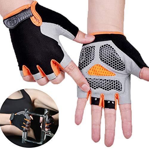 Guantes de gimnasio acolchados sin dedos, guantes de levantamiento de pesas, guantes de ciclismo para hombres y mujeres (naranja, XL)
