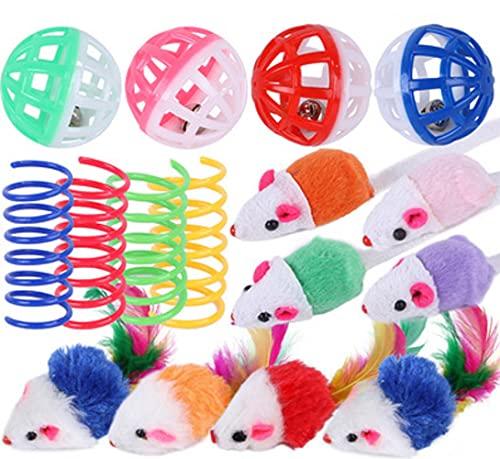 YBBT katzenspielzeugsets,16PCS katzenspielzeug,Interaktives Katzenspielzeug Inklusive interaktiver Bälle,Frühlingsspielzeug und verschiedenen Plüschmäusen