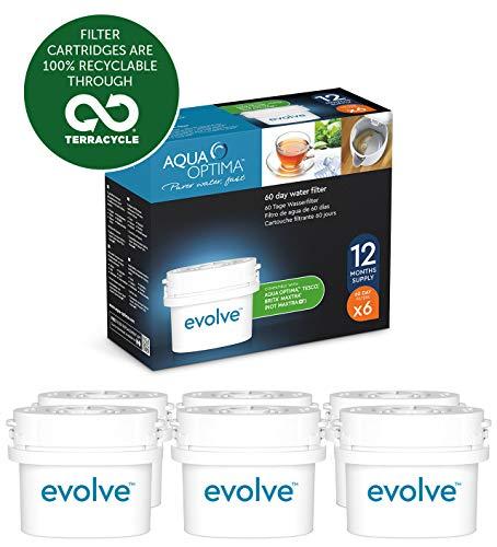 Aqua Optima EVD602 Evolve - Paquete de 1 ano, filtros de agua de 6 x 60 dias, Fit * BRITA Maxtra (no * Maxtra +)