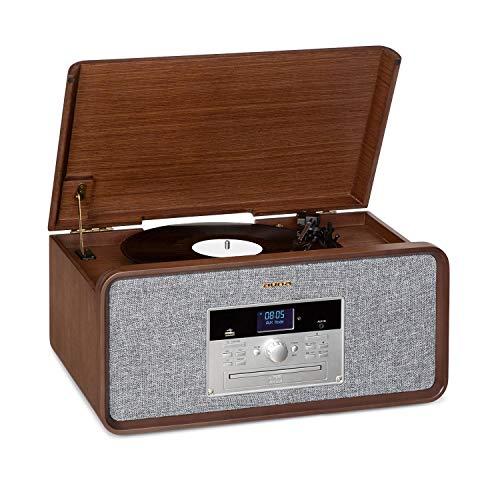 AUNA Bella Ann - Impianto Stereo, Radio DAB+/FM, Giradischi da 33/45/78 Giri/Minuto, Bluetooth, Lettore CD per CD-R/RW & MP3, Porta USB, AUX-IN, Telecomando, Registrazione, Marrone