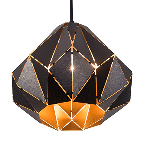 SAISHUO Geometric Pendant Light, Retro Loft Style Design, Mini Black Pendant Lighting Fixture,...