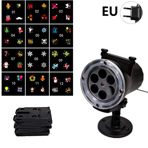 fridaymonga Luces De Navidad para Proyectores, 12 Diapositivas Luz De Rotación del Césped Dinámico del Paisaje Lámpara De Proyección Impermeable LED Proyector Móvil para Jardín De Fiestas