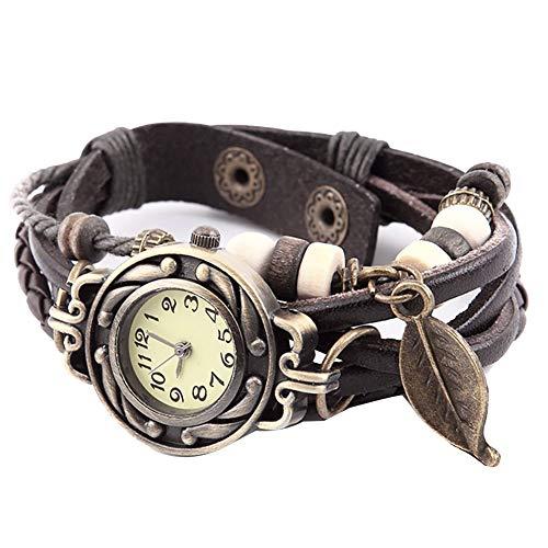 Ogquaton Armbanduhren für Frauen Retro Kunstleder Armbanduhr Baumblatt Geflochtene Uhr Dekoration Quarz Armbanduhr Kaffee Langlebig und nützlich