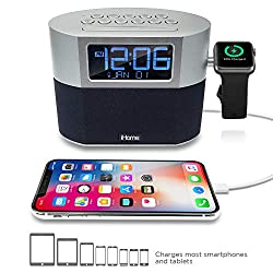 iHome Bluetooth Dual Alarm FM Clock Radio with Speakerphone, Apple Watch Charging and USB Charging