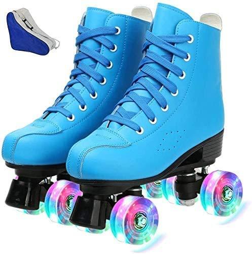 Damen Rollschuhe Leuchtende Räder, zweireihige Rollschuhe Glänzende Derby Skates Leuchtend für Jugendliche und Jugendliche (Blue Flash, 38-US: 7)