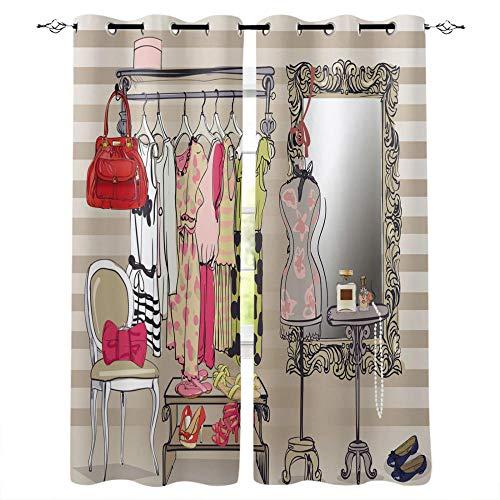 QGWMCD Verdunklungsvorhang Gelber Cartoon-Kleider-Schminktisch,Super Soft Polyester Fenstervorhang Room Verdunkelung Home Decor für Schlafzimmer Wohnzimmer 140x250cm x2