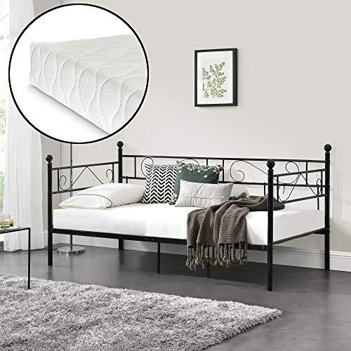 [en.casa] Metallbett mit Matratze 90x200 Metall-Tagesbett mit Lattenrost Öko-Tex Standard 100 Atmungsaktiv Kojenbett Bett Schlafzimmerbett Schwarz