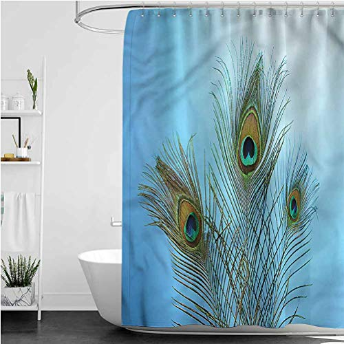 Interestlee Peacock Shower Curtain Liner Rich Colorful Plumage Motif Waterproof Polyester Fabric Bathroom Curtain, 72 x 78 Inch