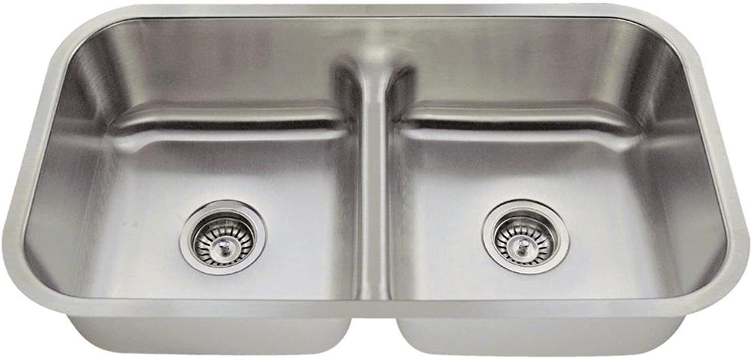 Mr Direct 512-18 Low Divide Double Bowl Stainless Steel Sink