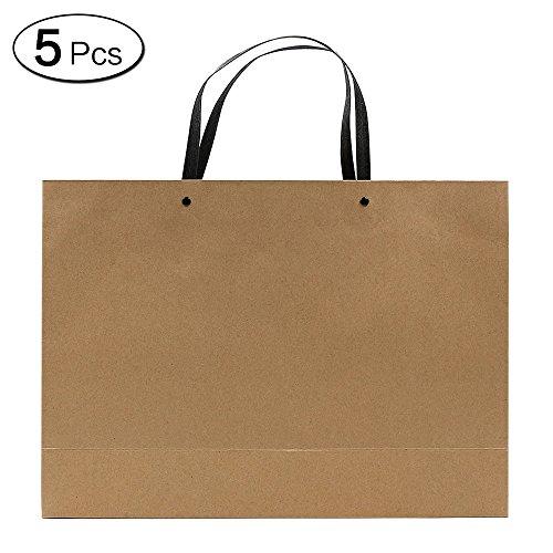 Jia HU 5Stück Wiederverwendbare Papier-Geschenktüten mit Griffe für Lebensmittel, mit Tuch-Party, Kraft, 30*42*12cm/11.8*16.5*4.7Inch