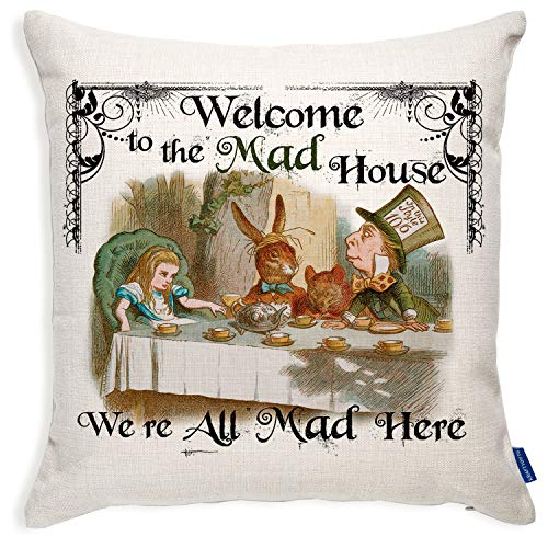 Alice in Wonderland 'Welcome to the Mad House' Tea Party AW06 Vintage Mad Hatter Cushion Custom Scatter Pillow Cover Gift - 40cm x 40cm - With Insert/Pad by Krafty Gifts