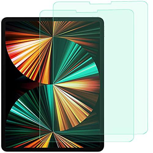 CQJPDPSW Protector de pantalla completa de cristal templado para iPad Pro de 12.9 pulgadas (2021), resistente a los arañazos, antideslumbramiento, gran sensibilidad, paquete de 2