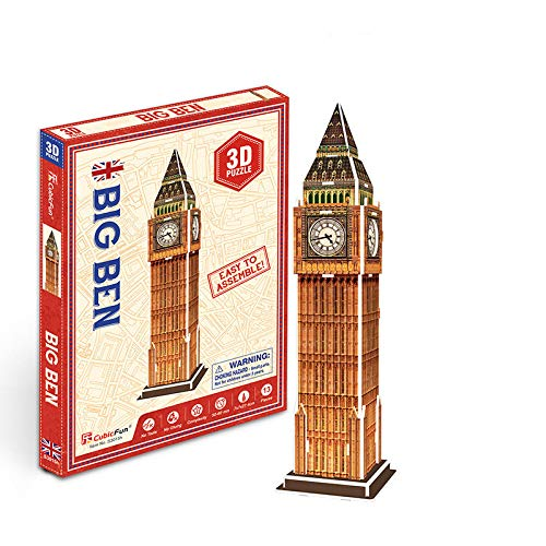 Awxy 3D Puzzle Tower Bridge und Big Ben Die Welt in 3D entdecken, Wahrzeichen der Welt,Bastelspass für Jung und Alt (Big Ben)