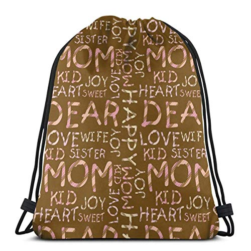 GeorgoaKunk Zaino con Coulisse Love Mom Love Family 3D Print String Bag Sackpack Cinch Tote Bags Regali per Donne Uomini Palestra Shopping Sport Yoga