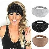 CAKURE Wide Headbands Crystal Rhinestone Head Bands Black Turban Headband Elastic African Head Wraps Sport Hair Bands Hair Accessories for Women and Girls Pack of 3