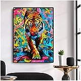 Graffiti Animal Art Tigre pintura al óleo sobre lienzo carteles artísticos de pared impresiones cuadros de pared para sala de estar decoración de cuadros de pared para el hogar