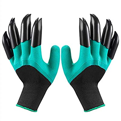 Garden Genie Gloves with Claws, Waterproof and Breathable Garden Gloves for Digging Planting, Best Gardening Gifts for Women and Men (Green Claw 1 Pairs) by inforest