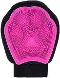 Crea Ebe- Guante de aseo para perros y gatos - Cepillo suave y masajeador para eliminar el pelo de mascotas (rosa)