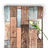 Selbstklebende Tapete Hölzerne Tapete Brown Wood Hintergrund Old-Ship Peel und Stick Wallpaper Wenden Sie Sich an Paper Abnehmbare Tapete für Küchentür Kabinett Bartheke Schlafzimmer und 45 * 500cm
